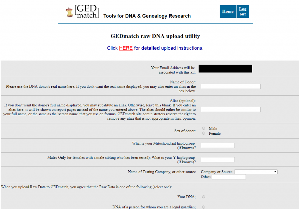 GEDMatch Upload File Form image